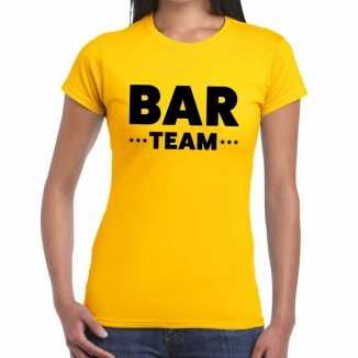 Geel bar team shirt dames