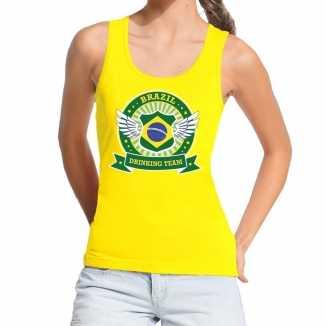 Geel brazil drinking team tanktop / mouwloos shirt dames