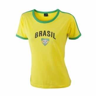 Geel dames shirtje Brazilie print