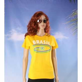 Geel dames shirtje Brazilie vlag