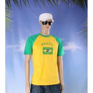 Geel groen shirt braziliaanse vlag