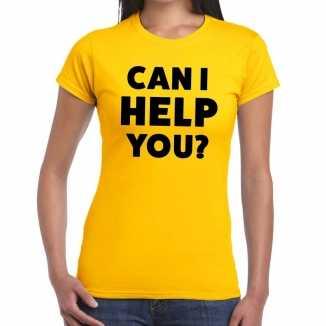 Geel tekst shirt can i help you bedrukking dames