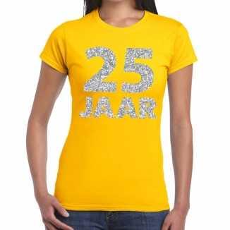 Geel vijfentwintig jaar verjaardag shirt dames zilveren bedrukking