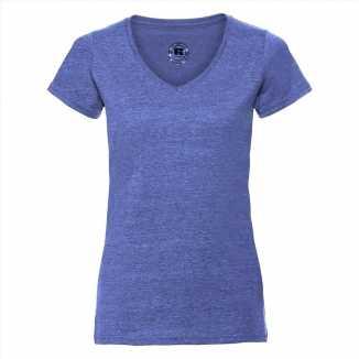 Getailleerde dames t shirt v hals blauw