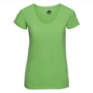 Getailleerde dames t shirt v hals lime groen