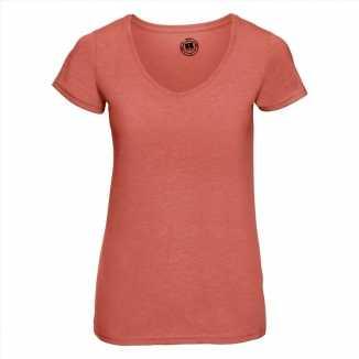 Getailleerde dames t-shirt v hals oranje