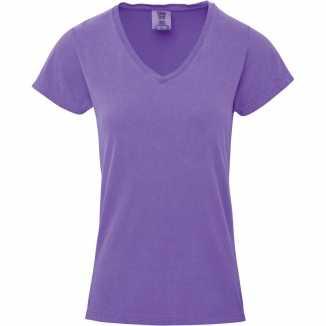 Getailleerde dames t shirt v hals paarse