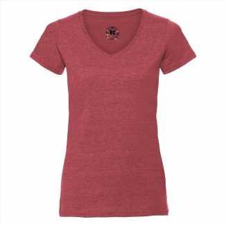 Getailleerde dames t shirt v hals rood