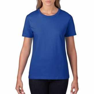 Getailleerde dameskleding t shirt ronde hals blauw