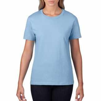Getailleerde dameskleding t shirt ronde hals licht blauw
