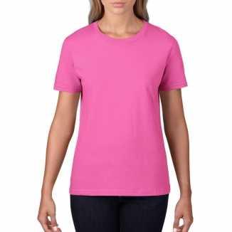 Getailleerde dameskleding t shirt ronde hals licht roze