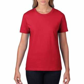 Getailleerde dameskleding t shirt ronde hals rood