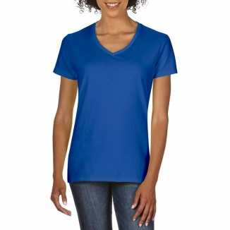 Getailleerde dameskleding t shirt v hals blauw