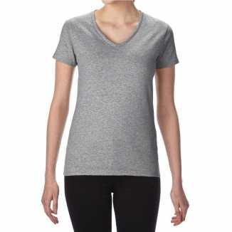 Getailleerde dameskleding t shirt v hals grijs