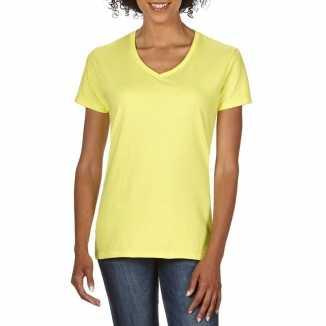 Getailleerde dameskleding t shirt v hals licht geel