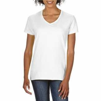 Getailleerde dameskleding t shirt v hals wit