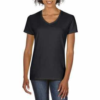 Getailleerde dameskleding t shirt v hals zwart