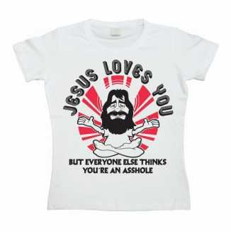 Grappig dames shirt Jesus Loves You