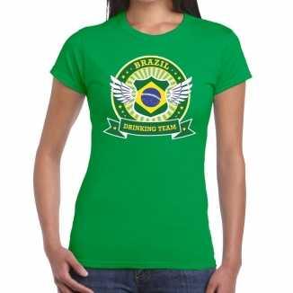 Groen brazil drinking team t shirt dames