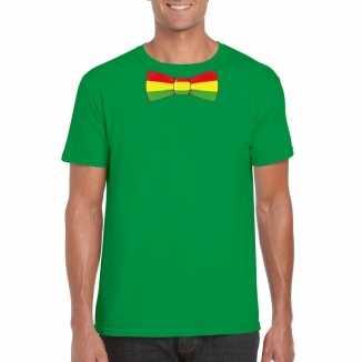 Groen t shirt limburgse vlag strik heren