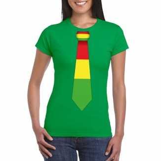 Groen t shirt limburgse vlag stropdas dames