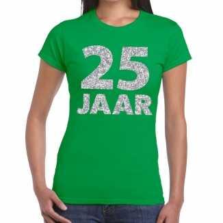 Groen vijfentwintig jaar verjaardag shirt dames zilveren bedrukking