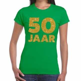 Groen vijftig jaar verjaardag shirt dames gouden bedrukking