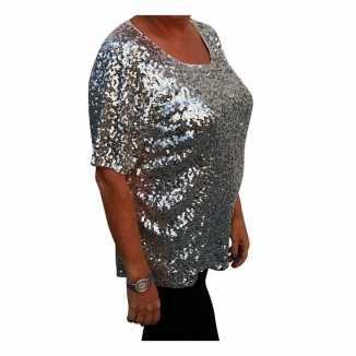 Grote maten zilveren glitter pailletten disco shirt dames xl