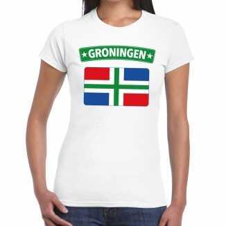 Grunnen vlag t shirt wit dames