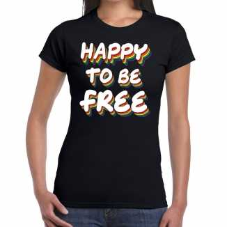 Happy to be free gay pride t shirt zwart dames