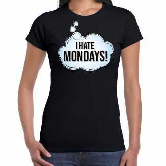 I hate monday / hekel aan maandag fun tekst t shirt / shirt zwart dames