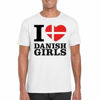 I love danish girls vakantie t shirt denemarken heren