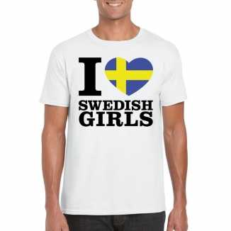 I love swedish girls vakantie t-shirt zweden heren