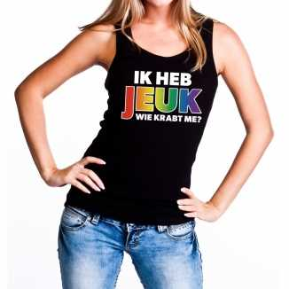 Ik heb jeuk regenboog gaypride tanktop/mouwloos shirt dames