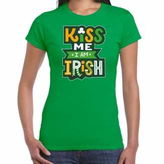 Kiss me im irish / st. patricks day t shirt / kostuum groen dames