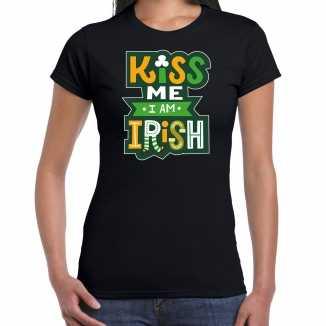 Kiss me im irish / st. patricks day t shirt / kostuum zwart dames