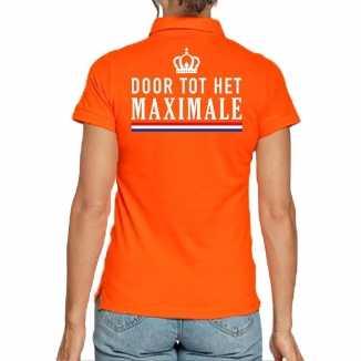 Koningsdag poloshirt door tot het maximale oranje dames