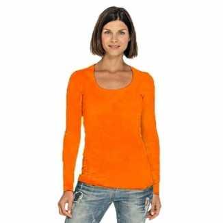 Lang dames t shirt lange mouwen oranje ronde hals