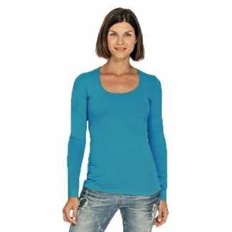 Lang dames t shirt lange mouwen turquoise ronde hals