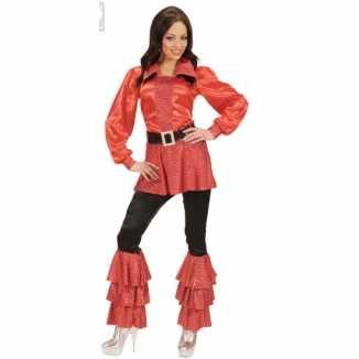 Lange dames shirts rood pailletten