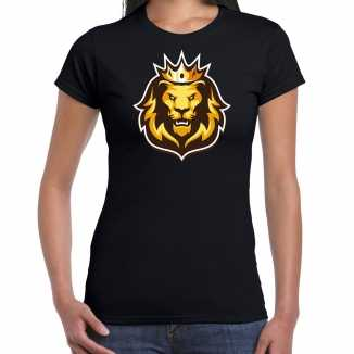 Leeuwenkop kroon koningsdag/ ek/ wk supporter t shirt zwart dames