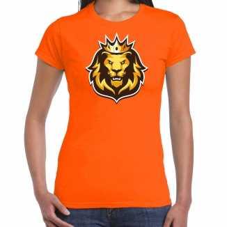 Leeuwenkop kroon koningsdag/ ek/ wk t shirt oranje dames