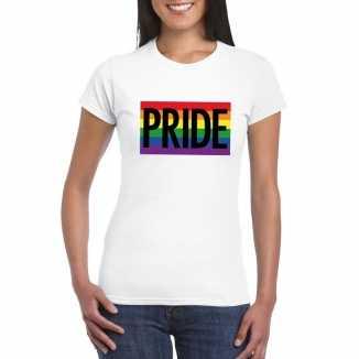 Lesbo shirt pride regenboog vlag dames wit