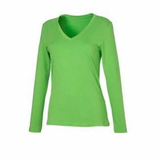 Lime dames cotton stretch shirts LS