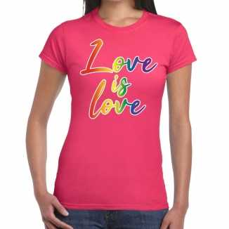 Love is love gay pride t shirt roze dames