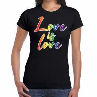 Love is love gay pride t shirt zwart dames