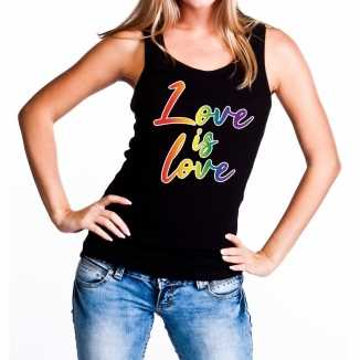 Love is love gaypride tanktop/mouwloos shirt zwart dames