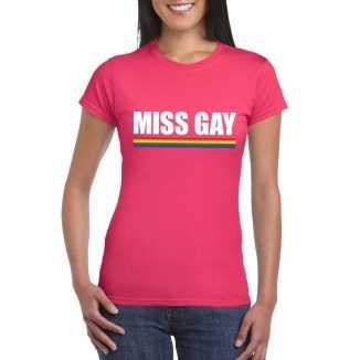 Miss gay shirt roze regenboog vlag dames