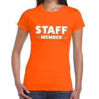 Oranje crew shirt staff member bedrukking dames