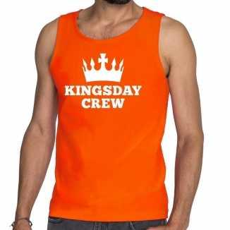 Oranje kingsday crew tanktop / mouwloos shirt heren